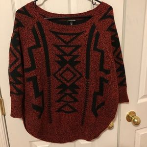 Express red tribal sweater size extra small